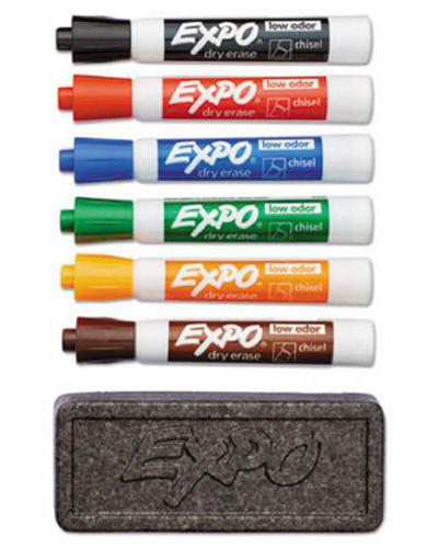 A photo of dry erase markers and an eraser