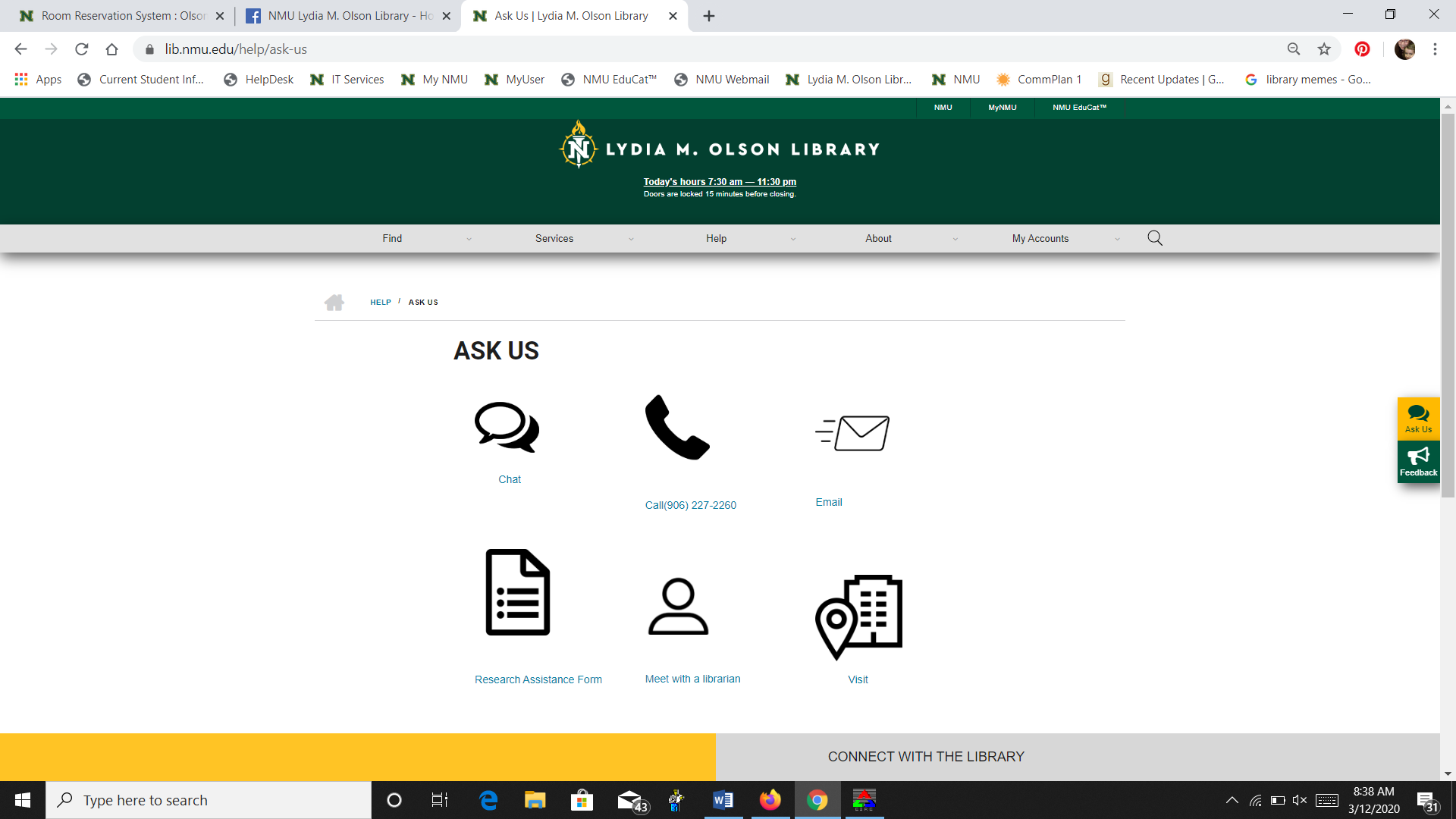Olson Library webpage; Contact Us page with icons and contact information