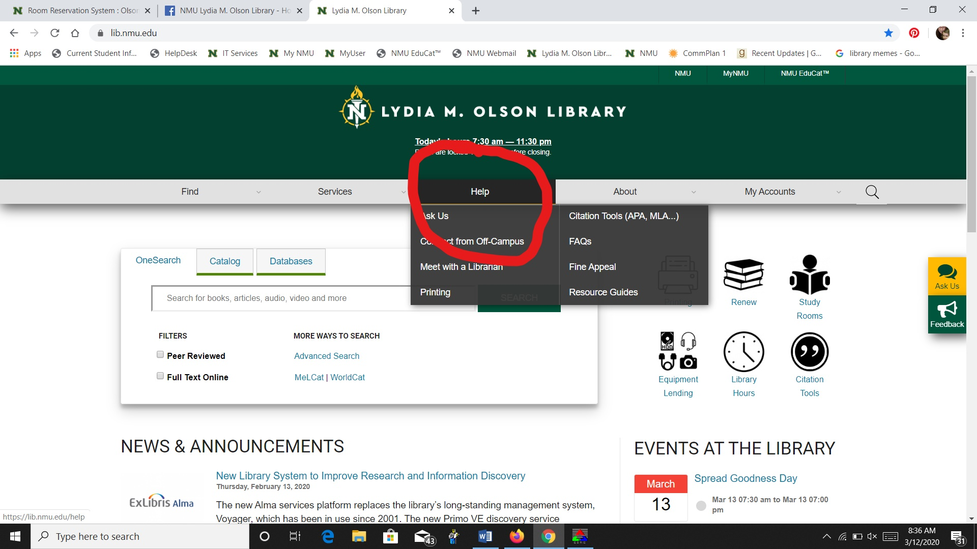 "Main Olson Library web page with ""Help"" dropdown selected and circled in red"