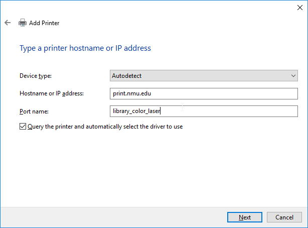 "Image of ""add a printer"" dialogue box requesting info regarding the printer's host name and port name."