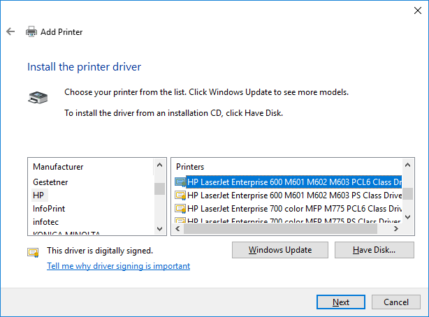 Screenshot of a list of printer drivers in the windows dialogue box.