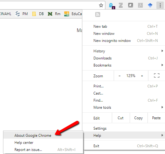 "Image showing the ""about google chrome"" menu option in google chrome."