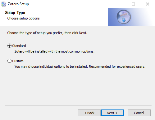 Image showing the setup type option on the zotero installer dialogue.
