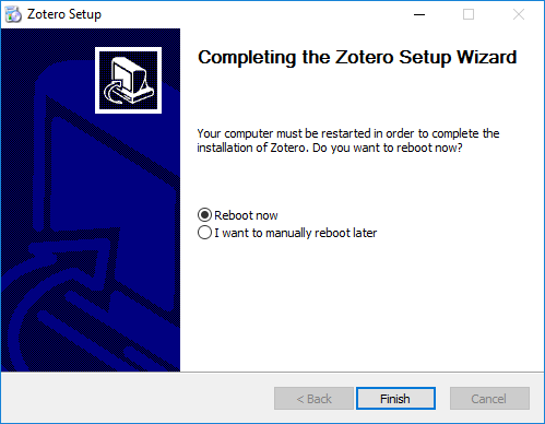 Picture showing the reboot option screen of the zotero installer