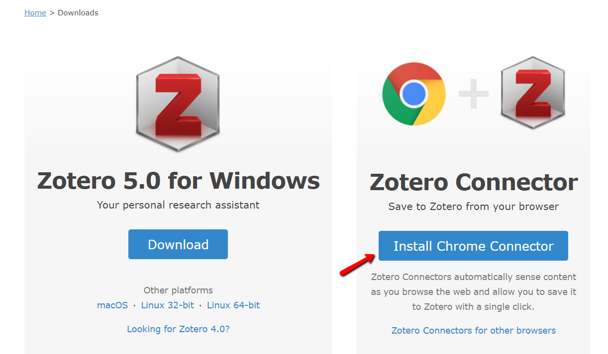 image of a page linking the zotero connection for google chrome download.