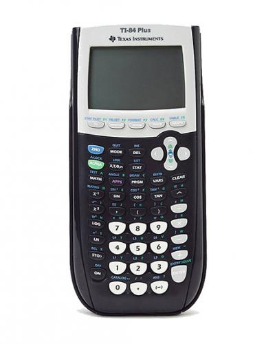 A photo of a Texas Instrument TI-84 Plus graphing calculator
