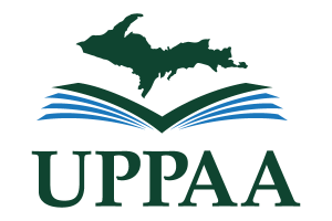 UPPAA logo; Upper Peninsula image over open book image; text UPPAA